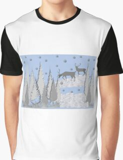 Snow scene with trees and deers Graphic T-Shirt