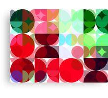 Mixed color Poinsettias 1 Abstract Circles 3 Canvas Print