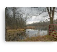 Red Gate In The Rain Canvas Print