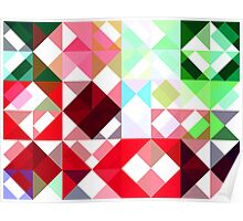 Mixed color Poinsettias 1 Abstract Triangles 1 Poster