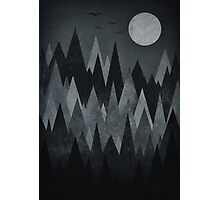Dark Mystery Abstract Geometric Triangle Peak Wood's (black & white) Photographic Print