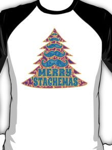 Psychedelic Mustache Christmas Tree T-Shirt