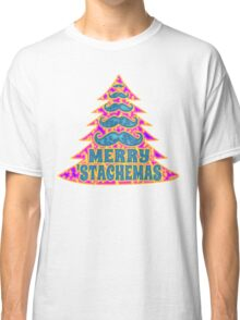 Psychedelic Mustache Christmas Tree Classic T-Shirt