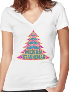 Psychedelic Mustache Christmas Tree Women's Fitted V-Neck T-Shirt