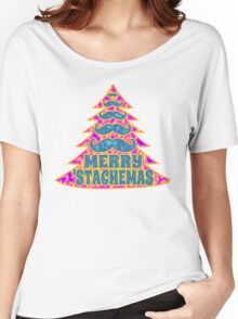 Psychedelic Mustache Christmas Tree Women's Relaxed Fit T-Shirt