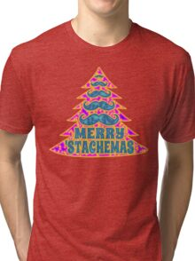 Psychedelic Mustache Christmas Tree Tri-blend T-Shirt