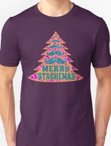 Psychedelic Mustache Christmas Tree Unisex T-Shirt