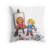 Tiny Steve Finger Painting Throw Pillow