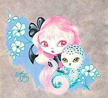 Snow Owl Friend by TenshiNoYume