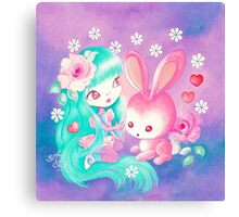 Pink Bunny Love Canvas Print