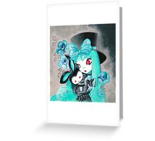 Sweet Gothic Girl With Bunny Greeting Card