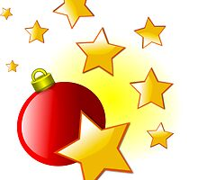 Red Christmas Decoration Ball and Stars by boogeyman