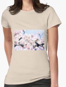 Lovely White Sakura Cherry Blossoms Spring Flowers Womens Fitted T-Shirt
