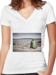 Watching the water Women's Fitted V-Neck T-Shirt