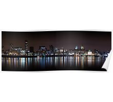 Liverpool Skyline Panoramic At Night Poster