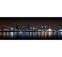 Liverpool Skyline Panoramic At Night Photographic Print