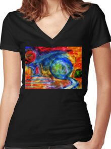 Abstract World. Women's Fitted V-Neck T-Shirt