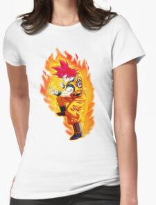Goku Super Saiyan God Womens Fitted T-Shirt