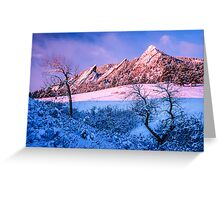 The Flatirons In Winter Blues And Pink Greeting Card