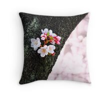 Beautiful Cherry Blossoms Blooming From Tree Trunk Throw Pillow