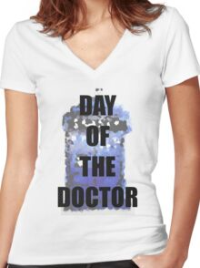 DAY OF THE DOCTOR! Women's Fitted V-Neck T-Shirt