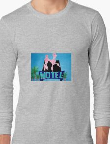 The Pink Poodle Motel Sign [oil ,acrylic,texture paint, painting] Long Sleeve T-Shirt