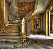 Massive stone stairway in an abandoned factory by Pierre BRUMDER