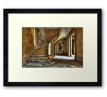 Massive stone stairway in an abandoned factory Framed Print