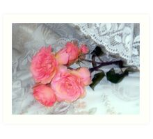 Roses on my Pillow Art Print