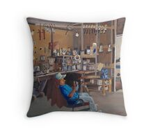 Rhodes Point Railway - Chris Marshall in his Shop Throw Pillow