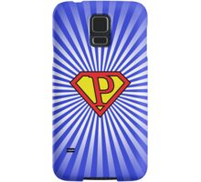 P letter in Superman style Samsung Galaxy Case/Skin