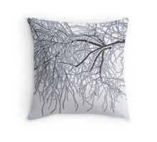 Frozen Branches Winter Theme Throw Pillow