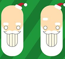 Santa Creep #2+3, Twins, Green Background by Kathryn DiMartino