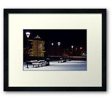 Lamps in Snow Framed Print
