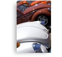VW Beetles in White and Brown Canvas Print