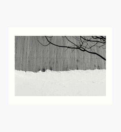 Barn Roof, Snow, Tree Art Print