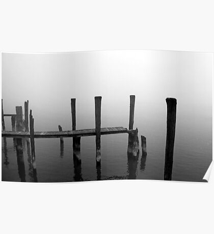 Foggy Dock 6 Black and White Poster