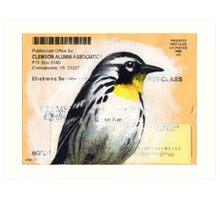 Clemson Warbler Art Print