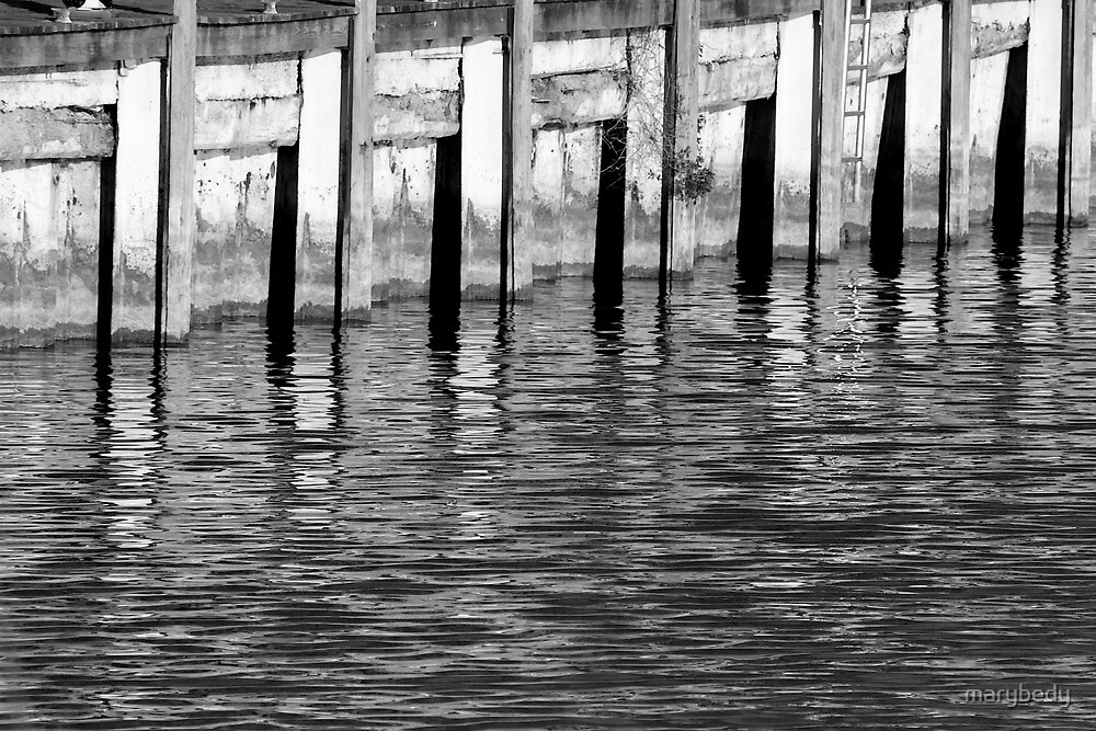 Retaining Wall 10 Black and White by marybedy