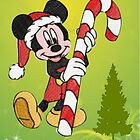Mickey Mouse with Candycane by Ann12art