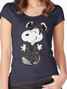 Snoopy as the 10th Doctor Women's Fitted Scoop T-Shirt