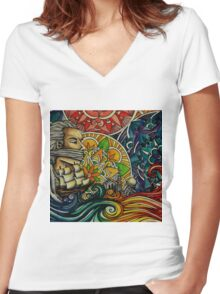 Black Sails and Mandala Skies Women's Fitted V-Neck T-Shirt