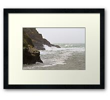 Rough seas in Port Quin Cornwall Framed Print