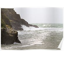 Rough seas in Port Quin Cornwall Poster