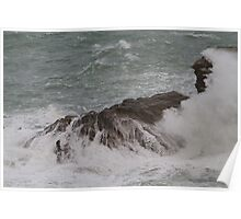 Rough seas in Port Isaac Cornwall Poster