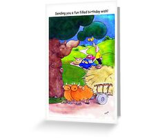 Happy birthday cards - funny bullockcart cartoon Greeting Card