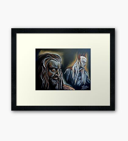 """He never forgave, he never forgot"" Thorin and Thranduil Framed Print"