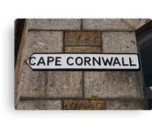 Cape Cornwall sign in St Just Cornwall Canvas Print