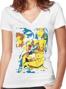 Woman Women's Fitted V-Neck T-Shirt
