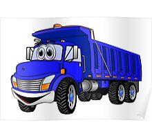 Dump Truck 3 Axle Blue Cartoon Poster